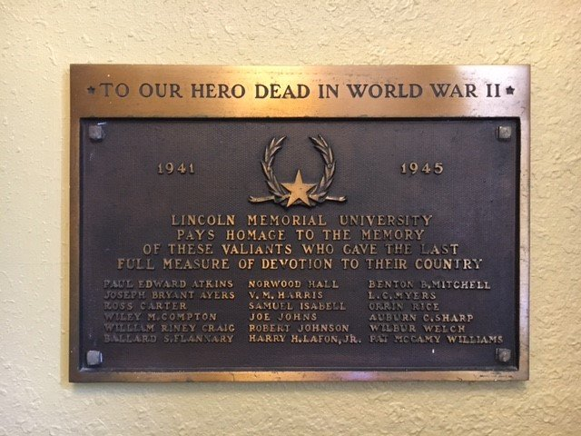 The World War II memorial located within Duke Hall.