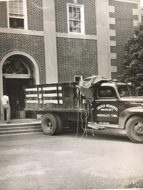 Numerous renovations have taken place within Duke Hall over the years. In this photo, items from the Lincoln Room were loaded up to be transferred to their new permanent home at the new Abraham Lincoln Library and Museum.