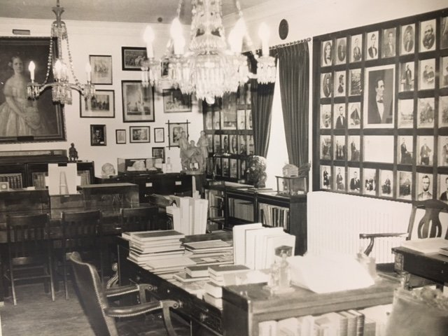 Many of the items seen in this picture of Duke Hall's Lincoln Room can be currently viewed at the Abraham Lincoln Library and Museum.