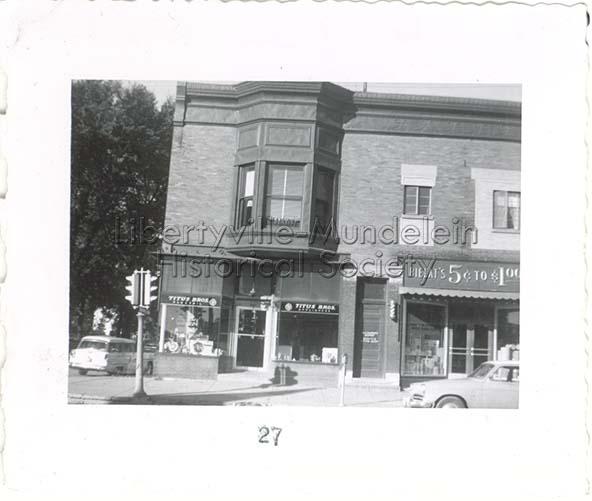 Titus Bros, Bielat's .05 - $1.00 and Scotty's barbershop, 1955