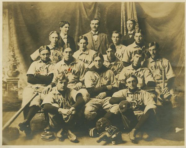 The 1897 Indiana Baseball Team pictured in uniforms with clear influences from older styles while also displaying the new front panel.
