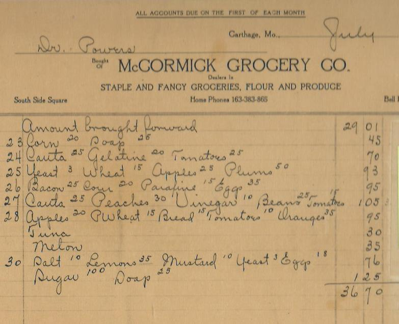 1918 Invoice from McCormick Grocery Company from Powers Museum Archives.