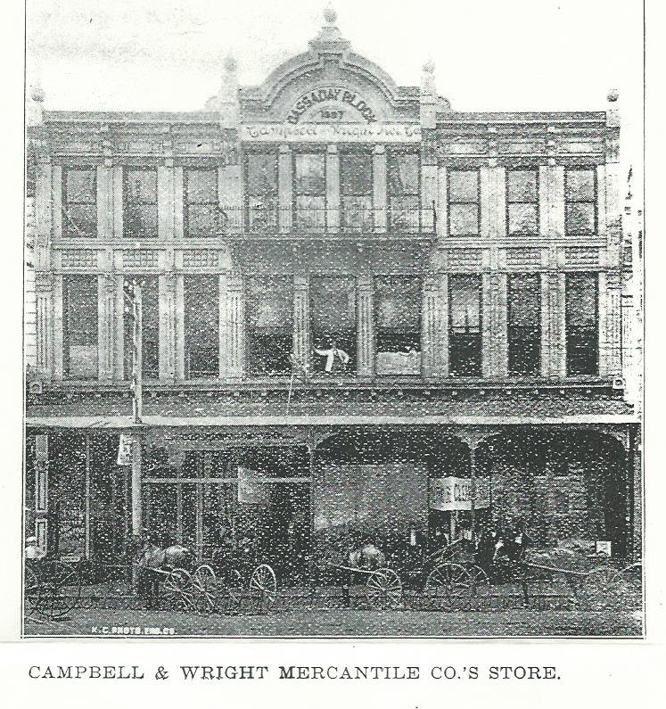 Campbell and Wright Mercantile Company, the largest of the various department store to occupied this site was housed on several floors. Image is c.1900.