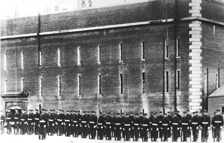 Troops in training during the Civil War at Fort Point.