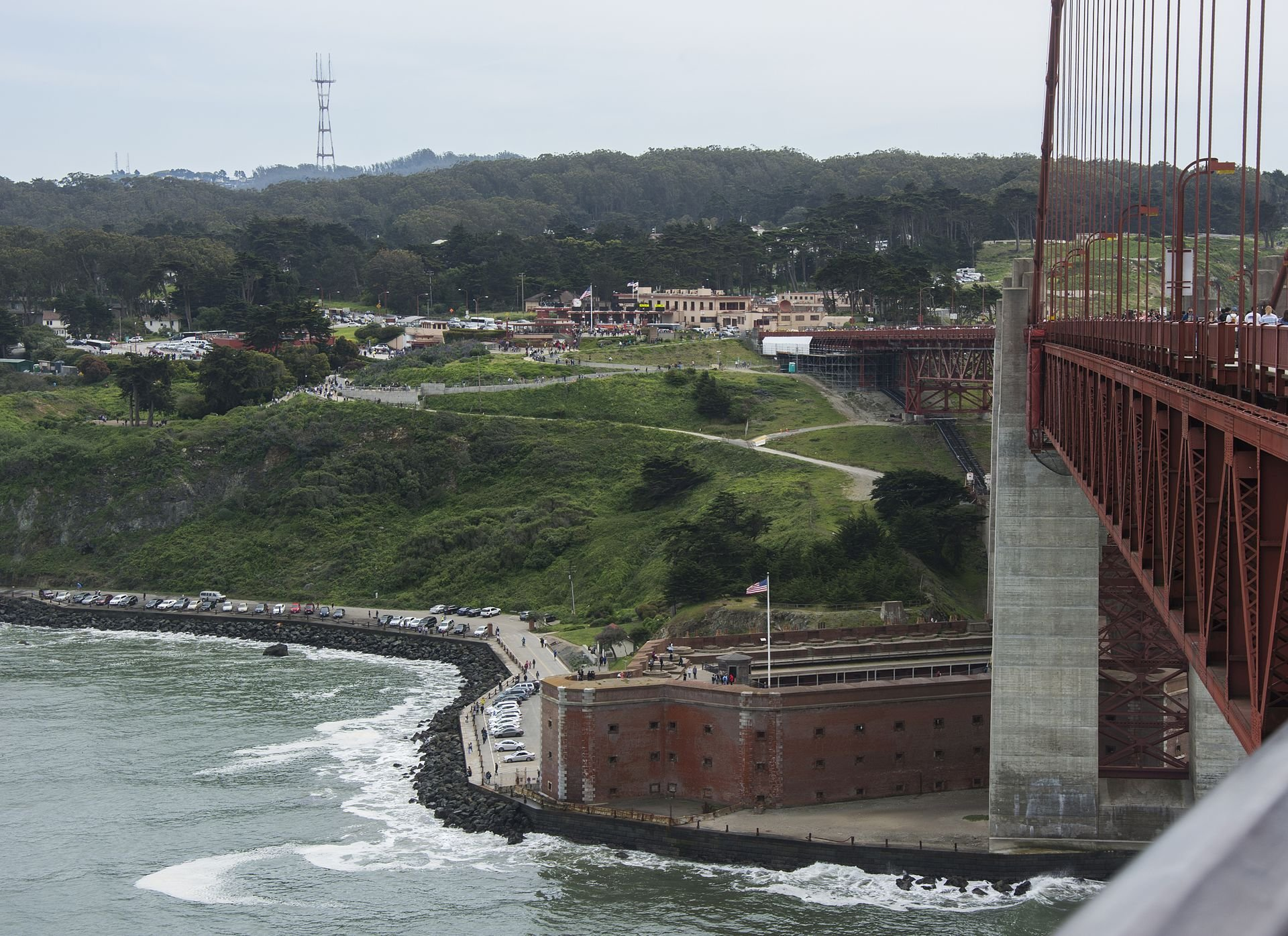 The fort as seen from the Golden Gate Bridge. The fort was saved from demolition thanks for the arched design of the bridge. Photo Credit: MJ, via Wikimedia Commons.