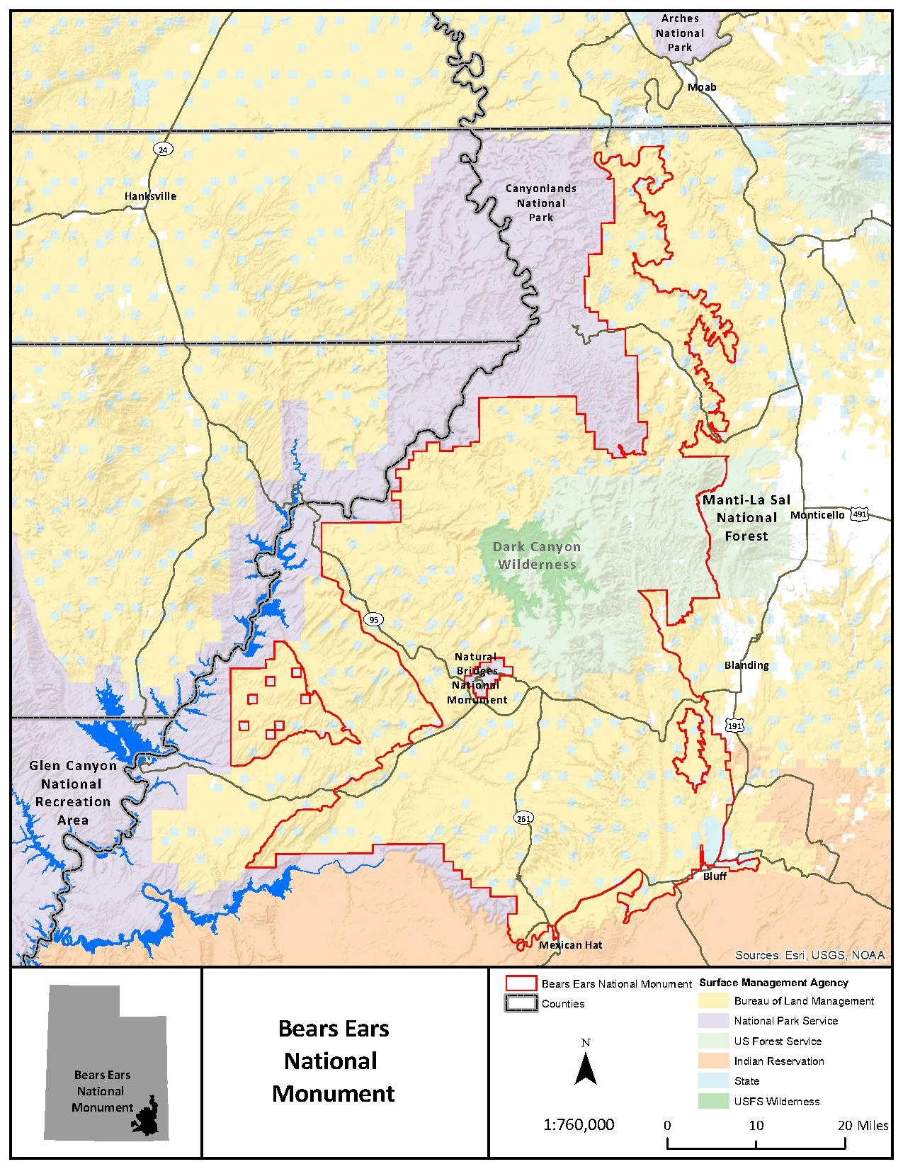 US Forest Service - This picture is the boundary for the national monument and also demonstrates which agencies manage which parts of the monument. (2016)