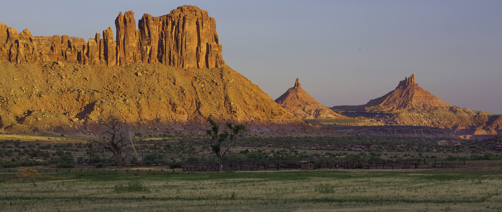 Indian Creek Canyon and the Sixshooter Peaks - US Bureau of Land Management. This picture shows the buttes after which the monument is named. (2016)
