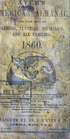 "Title page of the 1860 Ayer's Almanac. The angel's banner reads ""For the healing of all nations."""