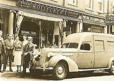 William Kollecker in front of his shop (undated)