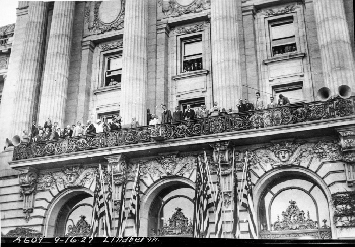 Aviator Charles Lindbergh addressing crowds in front of City Hall after his landing in San Francisco on September 16, 1926