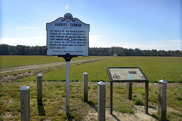 A sign marking the Harriet Tubman Underground Railroad Monument.