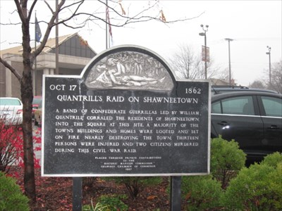 The historical marker remembering Quantrill's raids on Shawnee, mostly mentions the first burning and raid of Shawnee on October 17th, 1862.