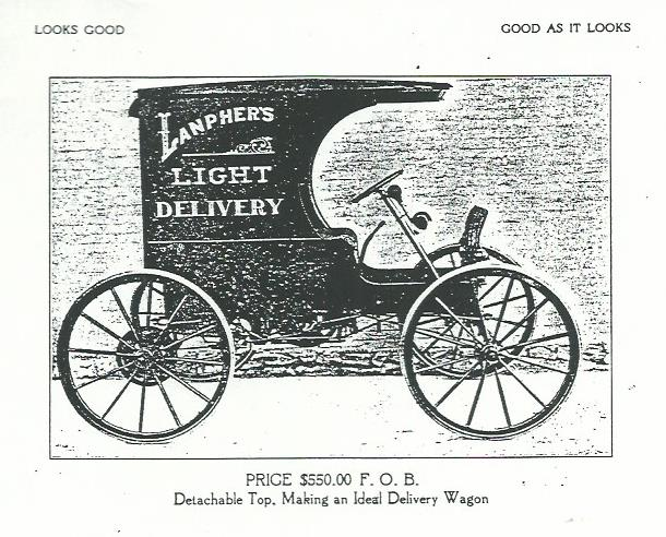 Circa 1910 catalog page from Lanpher booklet. Price for this light truck was $550.00.
