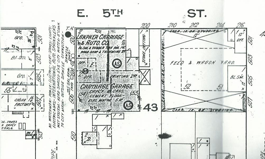 1915 Sanborn Map showing Lanpher Carriage and Auto Company. Note Carthage Garage to south of Lanpher building.