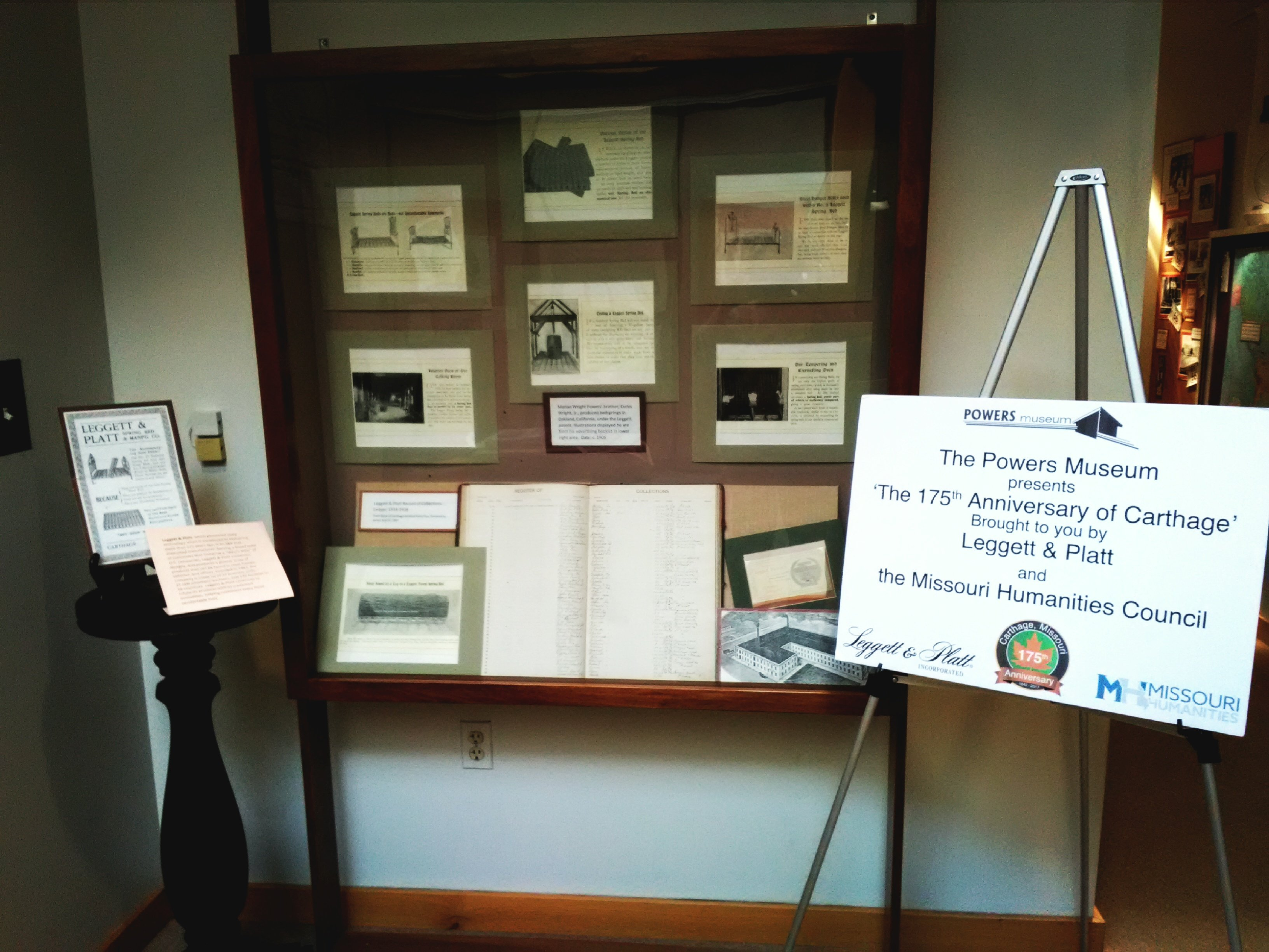 Leggett and Platt display at Powers Museum for 175th Anniversary of Carthage 2017 Exhibit.