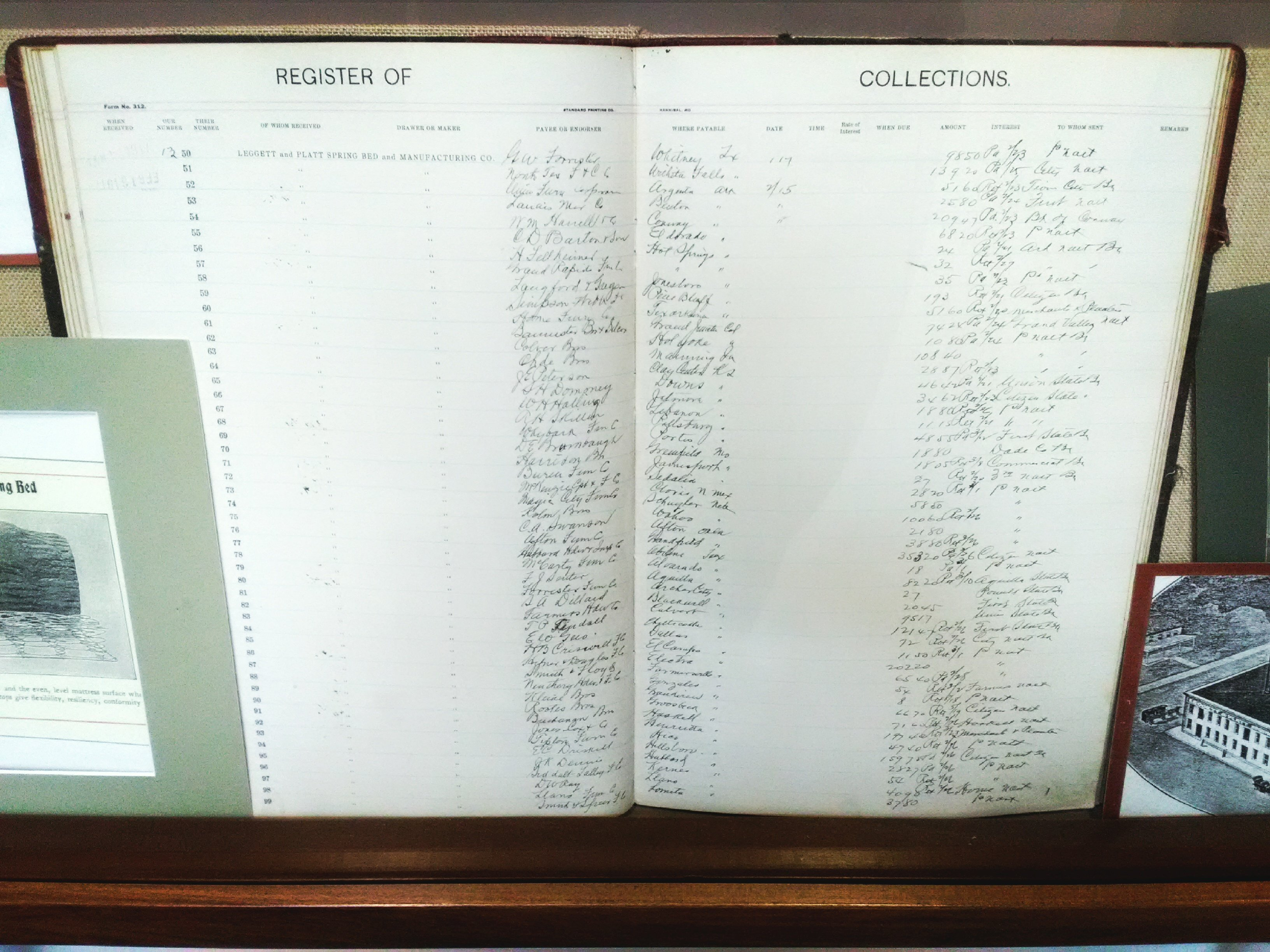 Record of Collections Ledger for Leggett and Platt, 1914 - 1918 on display as part of the 175th Anniversary of Carthage 2017 Exhibit.
