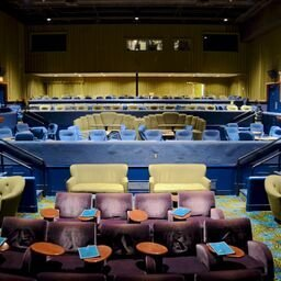 Interior multi level seating with dining tables to enjoy a light lunch or dinner if popcorn isn't enough. Front area seating consist of love-seat sofas, and lazy-boy chairs if you want the leisurely seats.