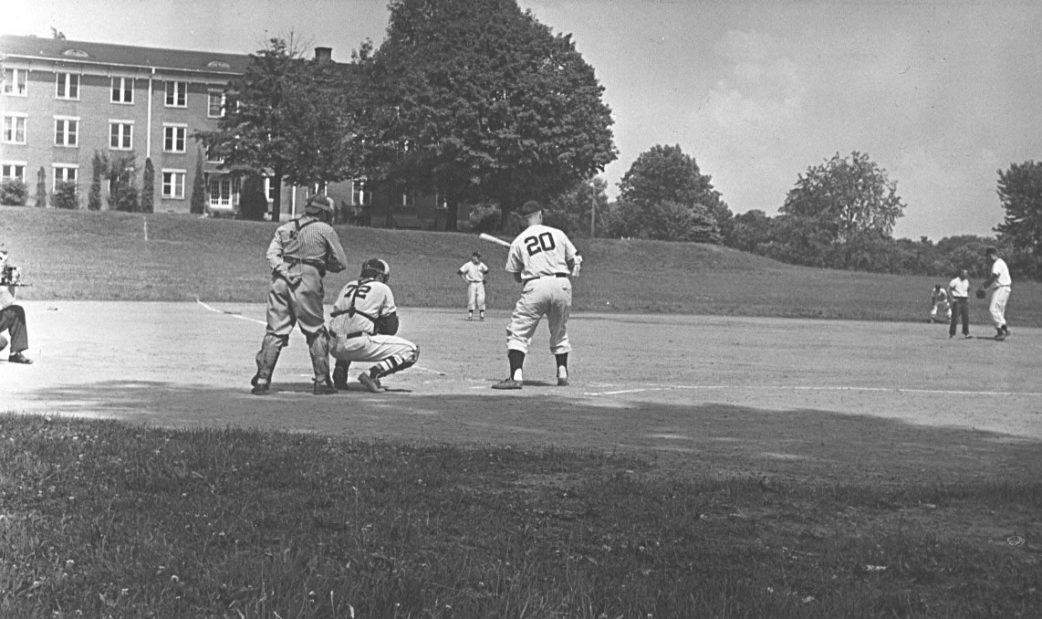 DAR appears in the background of this photo taken in the mid-1940s. This was a game at the old Cooper Field (est. 1910), which in later years was known as Lamar Hennon Field (and was still a baseball field until 2017).