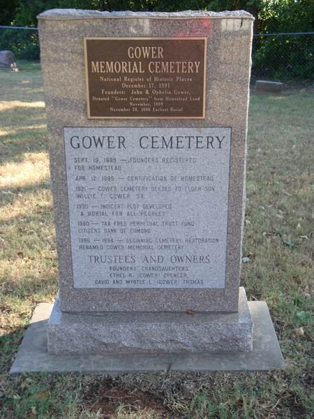 Marker on the history of the cemetery (image from Oklahoma Cemeteries)
