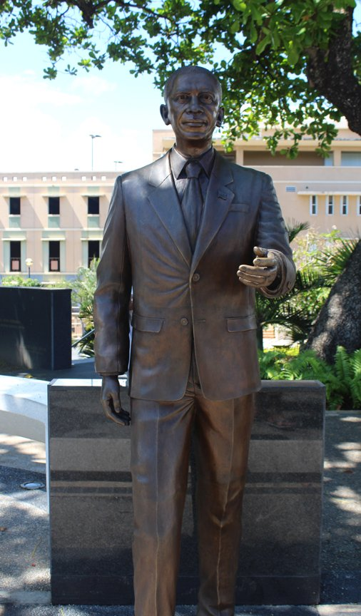 Life-size bronze statue of the 44th President of the United States, Barack Obama, on the Paseo de los Presidentes in San Juan, Puerto Rico