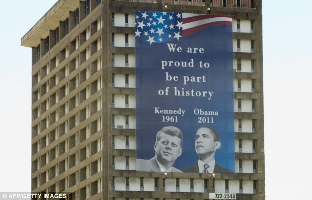 A banner in San Juan, Puerto Rico welcomes President Barack Obama on his visit to the island. His visit was the first in fifty years since the last official presidential visit.