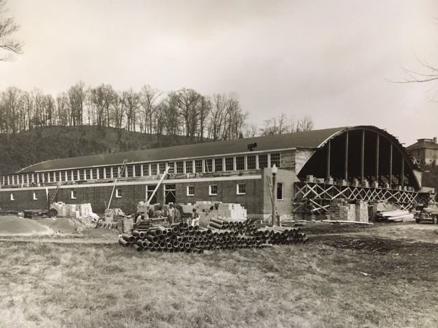 Mary E. Mars Gymnasium while it was in the process of being constructed after its move from Tullahoma, Tennessee to Harrogate, Tennessee.