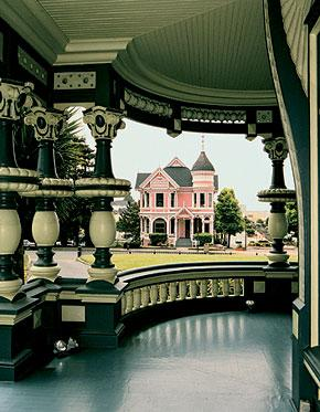 The Pink Lady as seen from the porch of the Carson Mansion across the street