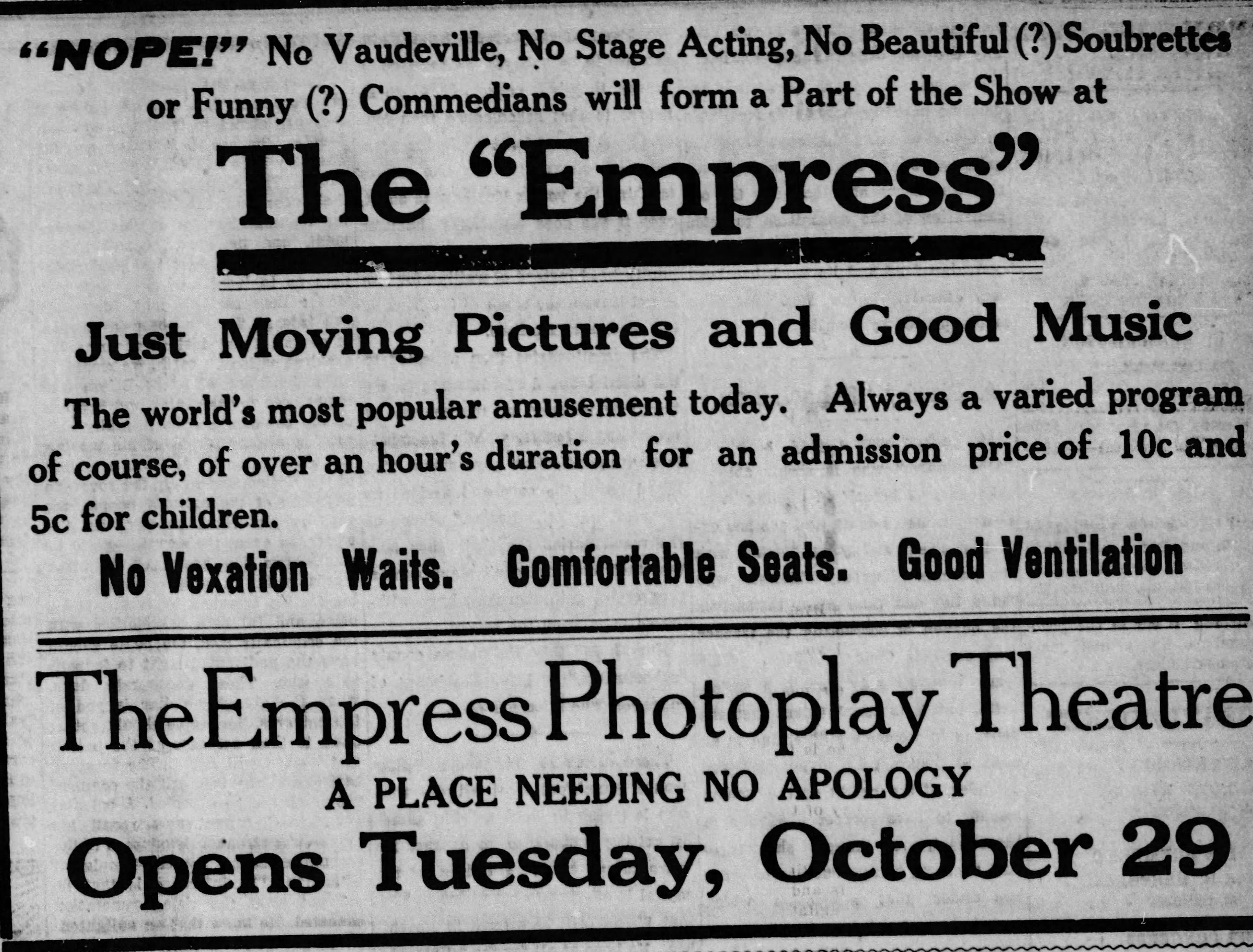 Newspaper Announcement for opening of The Empress, October 1912