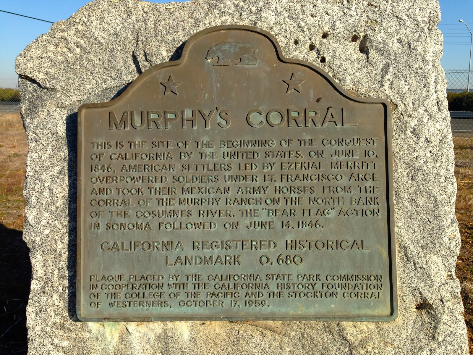 Marker at Murphy's Corral site