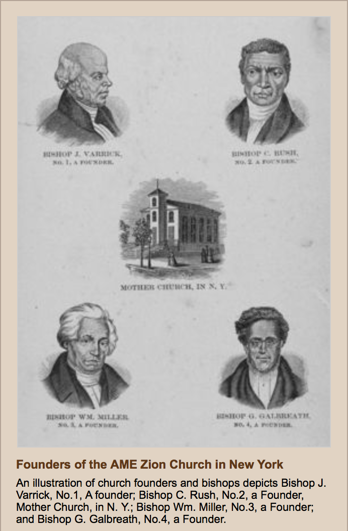 Sketch illustrations of the founders of the original Mother African Methodist Episcopal Zion Church in 1796.