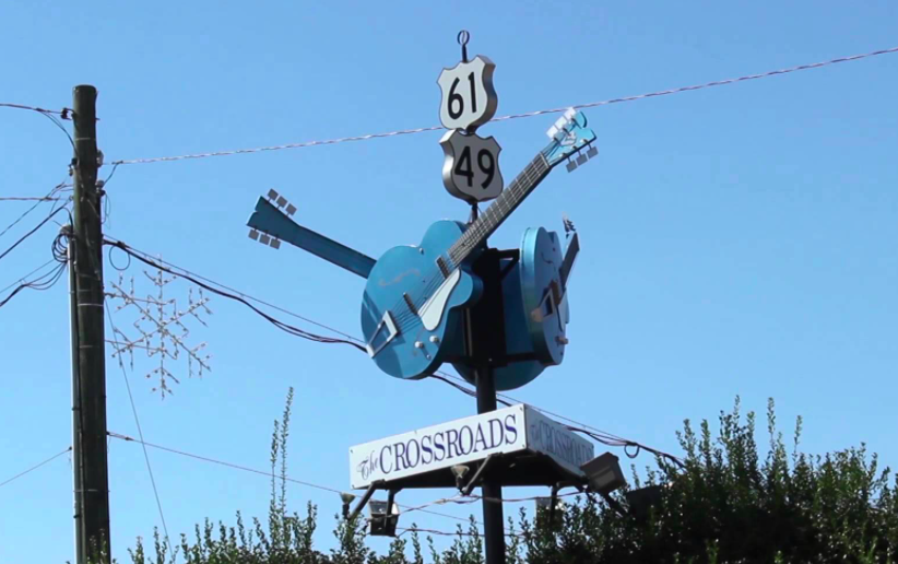 Three guitars at the crossroads stand as a tribute to Robert Johnson.