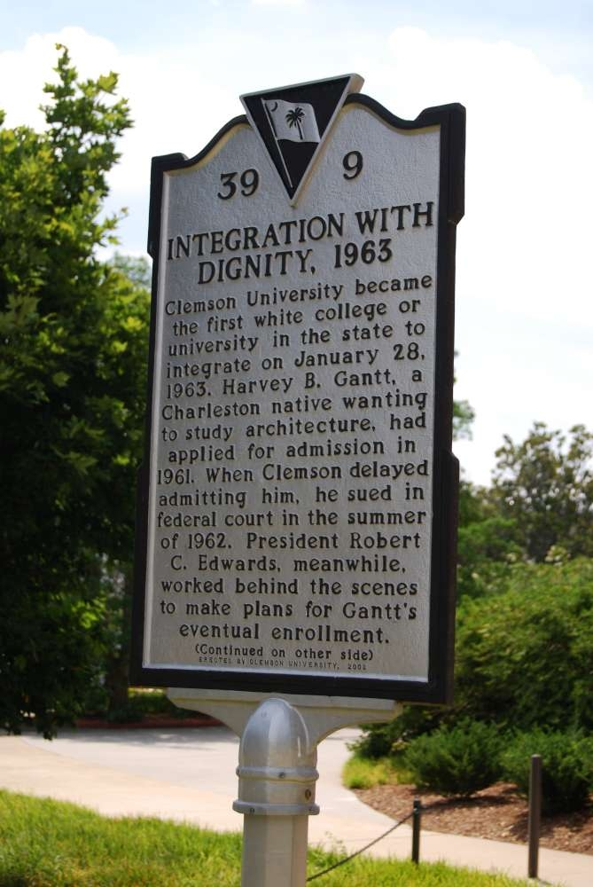 Historical Marker on Clemson Universities campus: Integration with Dignity