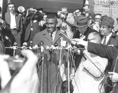Harvey Gantt being interviewed upon arrival to Clemson's campus, 1963