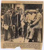 Newspaper clipping from Middletown Press, June 2, 1981 of the ground-breaking of the New Cross Street AME Zion Church