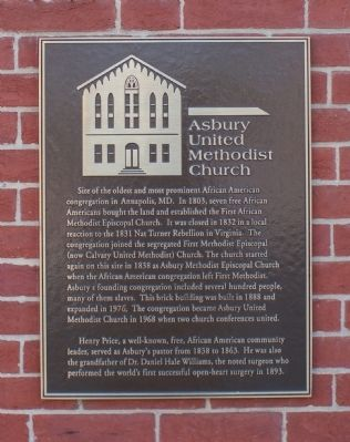 Asbury United Methodist Church Memorial Plaque