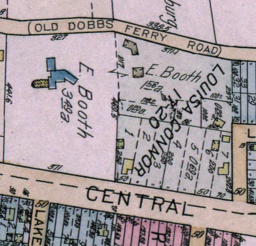 A 1929 map of Evangeline Booth's Hartsdale property.  Acadia is the blue structure at left.