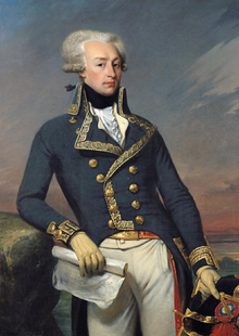 What Lafayette looked like in his Continental Army outfit.