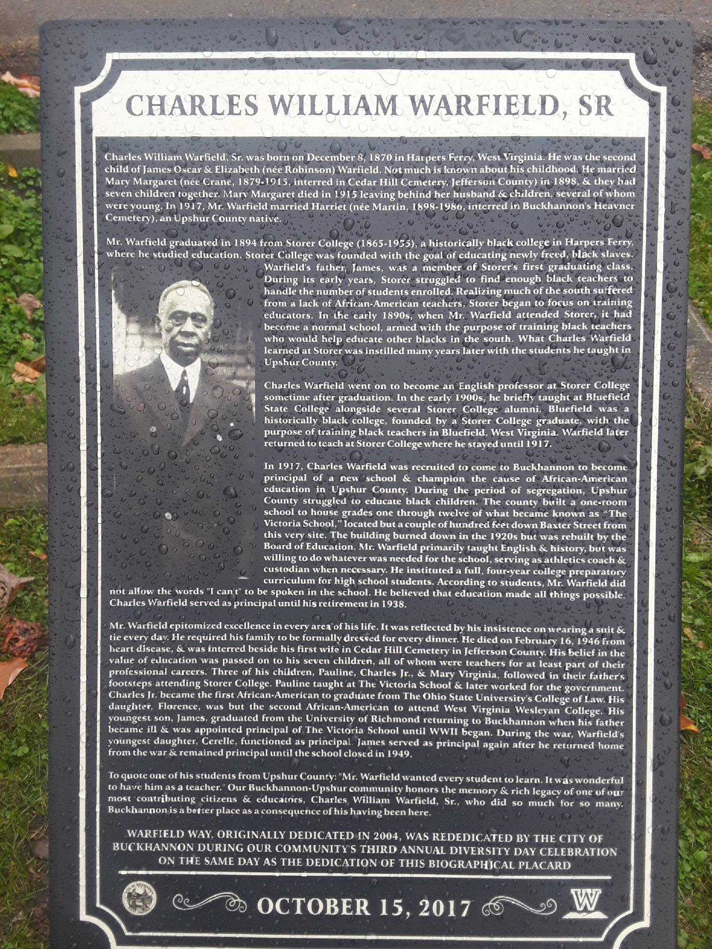 This plaque was dedicated in 2017 during West Virginia Wesleyan's homecoming weekend.