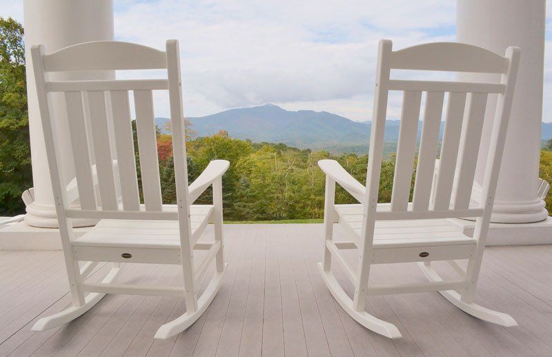 View from the back porch overlooking the mountains