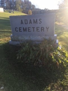 The Adams Cemetery Sign