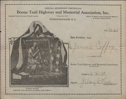 Member certification for the Boone Trail Highway and Memorial Association, Inc.