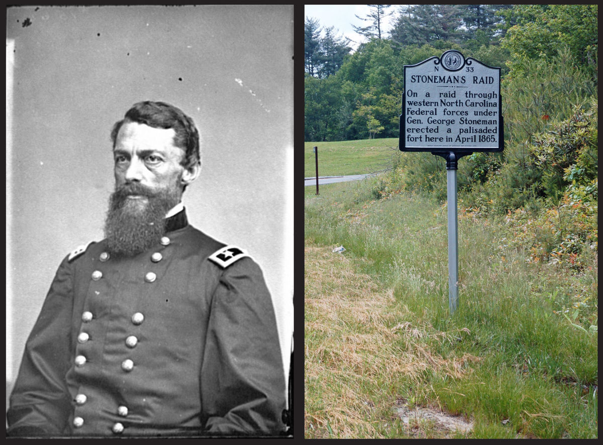 A picture of Gen. Stoneman and another historical sign on the Lenoir Turnpike of the 1865 raid