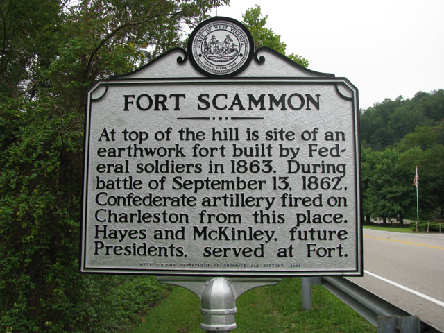 The marker sign at the site of Fort Scammon