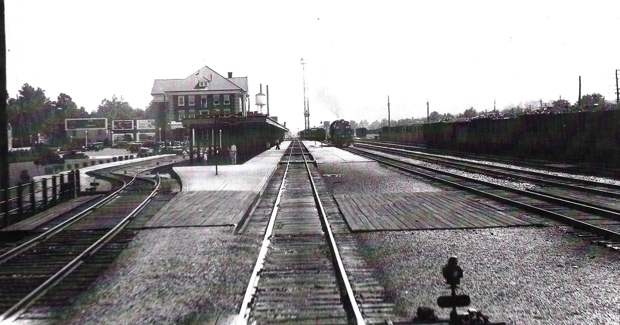 Looking east at the depot, early 1940s