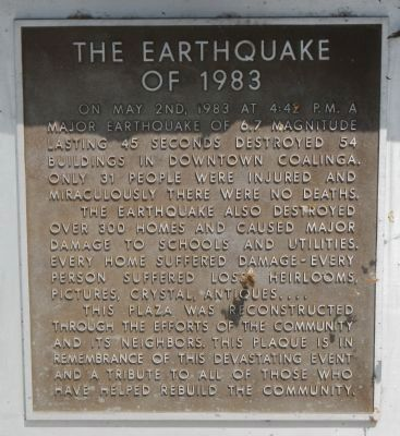 Plaque in Coalinga Plaza