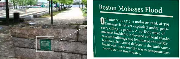 The site of the Boston Molasses Flood Plaque in the North End of Boston. 