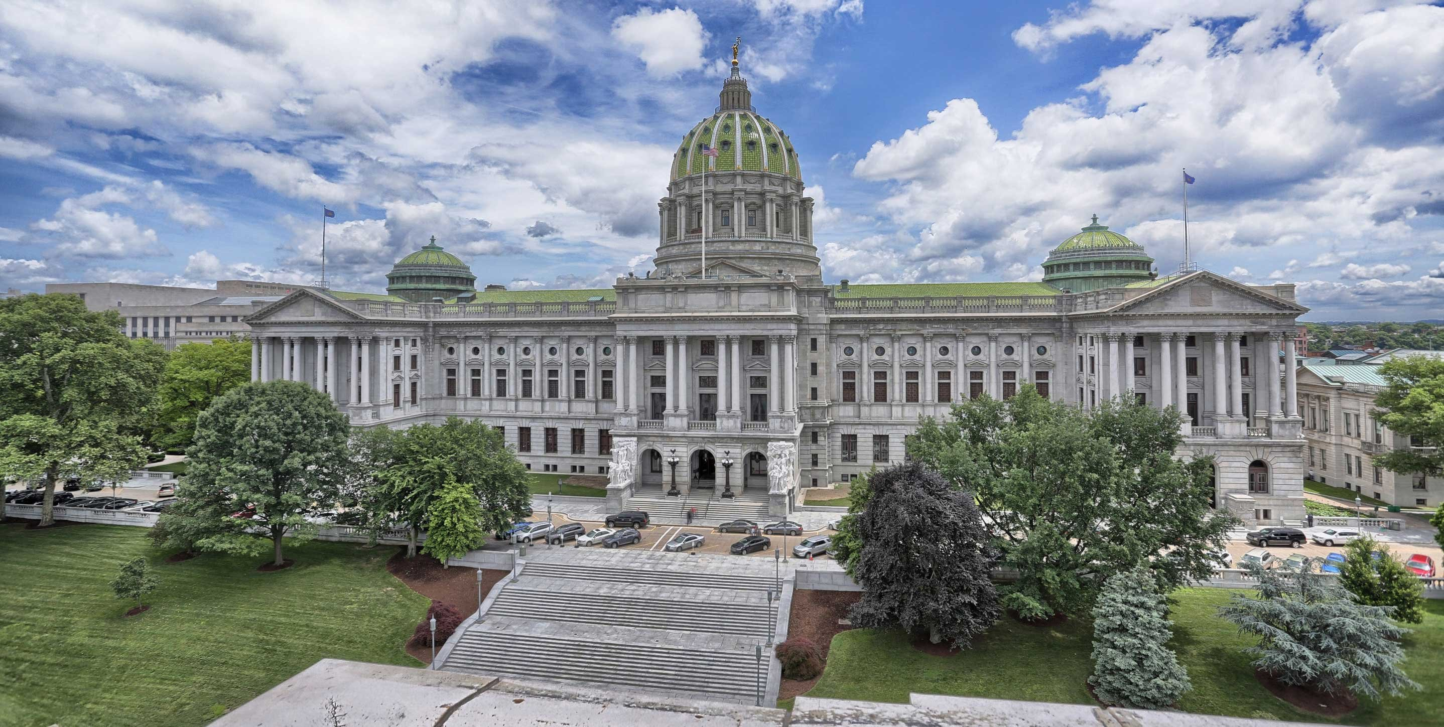 Construction on the Pennsylvania Capitol began in 1902, but it was not dedicated until 1906.