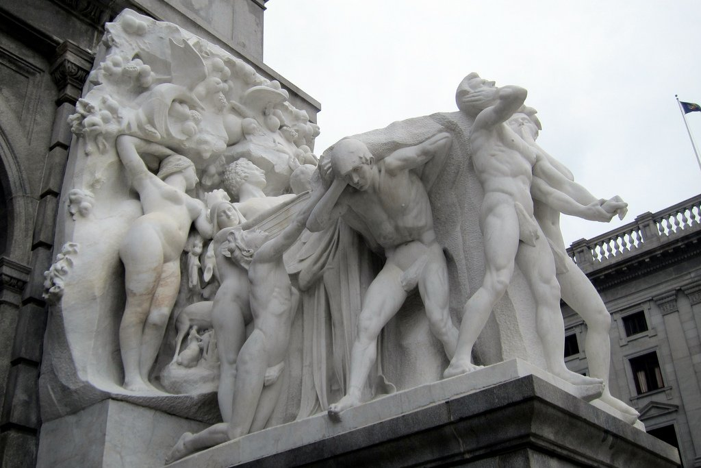 "One of the entrance sculptures.  In this case, ""Burden of Life."""