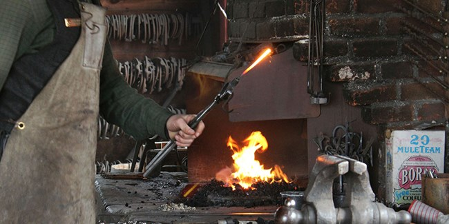 Visitors can watch demonstrations in the blacksmith shop.