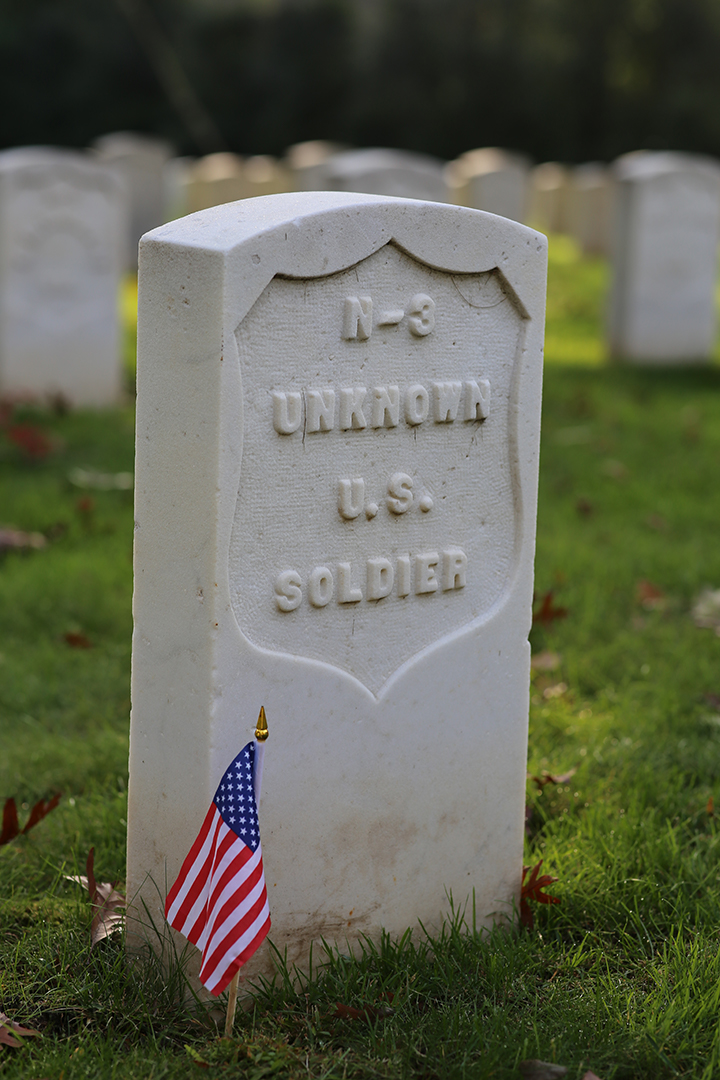Grave of an unknown United States soldier buried at Union Rest, Forest Hill Cemetery, Madison, Wisconsin.
